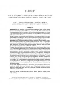 HOW BLACK AFRICAN AND WHITE BRITISH WOMEN PERCEIVE DEPRESSION AND HELP-SEEKING: A PILOT VIGNETTE STUDY