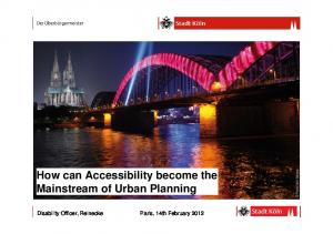 How can Accessibility become the Mainstream of Urban Planning
