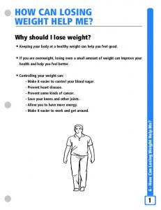 HOW CAN LOSING WEIGHT HELP ME?
