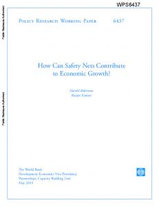 How Can Safety Nets Contribute to Economic Growth?