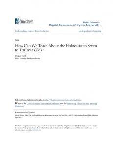 How Can We Teach About the Holocaust to Seven to Ten Year Olds?