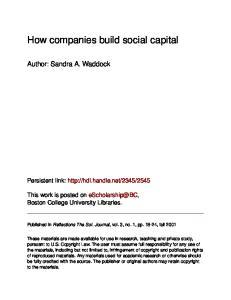 How companies build social capital