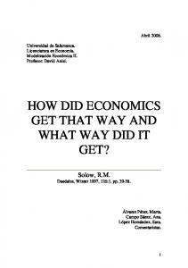 HOW DID ECONOMICS GET THAT WAY AND WHAT WAY DID IT GET?