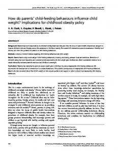 How do parents child-feeding behaviours influence child weight? Implications for childhood obesity policy