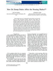 How Do Stamp Duties Affect the Housing Market?*