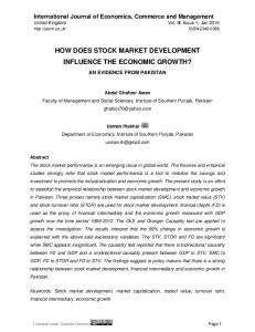 HOW DOES STOCK MARKET DEVELOPMENT INFLUENCE THE ECONOMIC GROWTH?