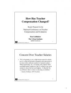 How Has Teacher Compensation Changed?