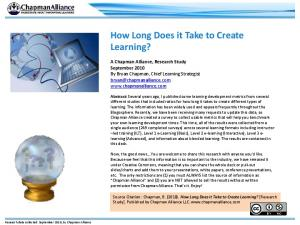 How Long Does it Take to Create Learning?
