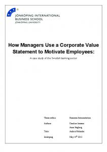 How Managers Use a Corporate Value Statement to Motivate Employees: