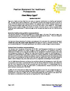 How Many Eggs? Position Statement for Healthcare Professionals. Updated July Position Statement: How Many Eggs?