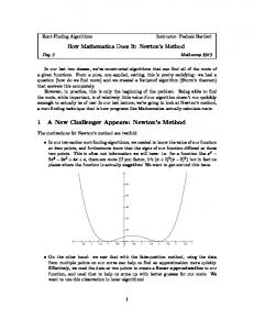 How Mathematica Does It: Newton s Method. 1 A New Challenger Appears: Newton s Method