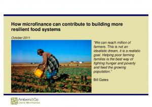 How microfinance can contribute to building more resilient food systems