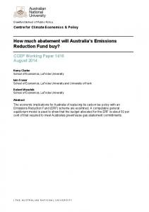 How much abatement will Australia s Emissions Reduction Fund buy?