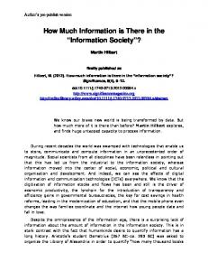 How Much Information is There in the Information Society?