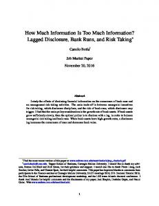 How Much Information Is Too Much Information? Lagged Disclosure, Bank Runs, and Risk Taking