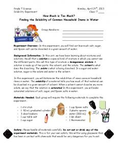 How Much is Too Much? Finding the Solubility of Common Household Items in Water