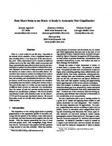 How Much Noise is too Much: A Study in Automatic Text Classification