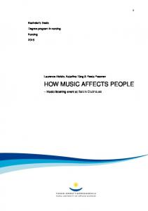 HOW MUSIC AFFECTS PEOPLE