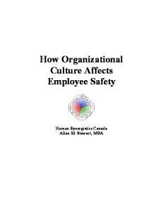How Organizational Culture Affects Employee Safety. Human Synergistics Canada Allan M. Stewart, MBA