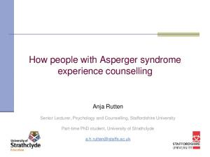 How people with Asperger syndrome experience counselling