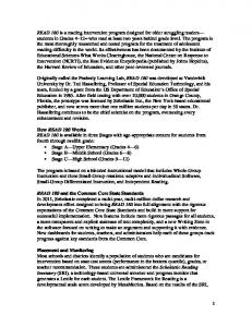 How READ 180 Works READ 180 and the Common Core State Standards Placement and Monitoring