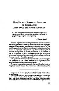 How Should Financial Markets Be Regulated?