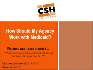 How Should My Agency Work with Medicaid?