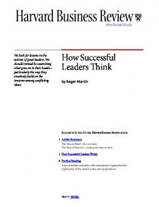 How Successful Leaders Think