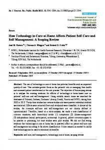 How Technology in Care at Home Affects Patient Self-Care and Self-Management: A Scoping Review