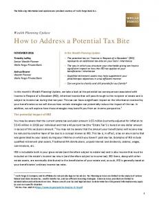 How to Address a Potential Tax Bite