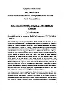 How to apply for the Erasmus + VET Mobility Charter. Introduction