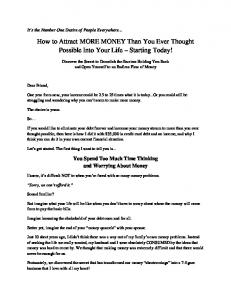 How to Attract MORE MONEY Than You Ever Thought Possible Into Your Life Starting Today!
