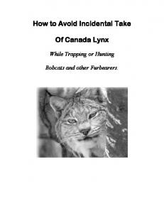 How to Avoid Incidental Take. Of Canada Lynx