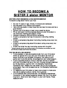 HOW TO BECOME A SISTER 2 sister MENTOR