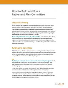 How to Build and Run a Retirement Plan Committee