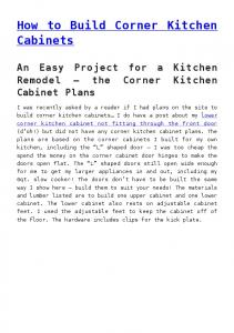 How to Build Corner Kitchen Cabinets