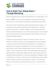 How to Build Your Global Brand ~ Through Mentoring