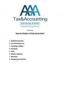 How to choose a Great Accountant