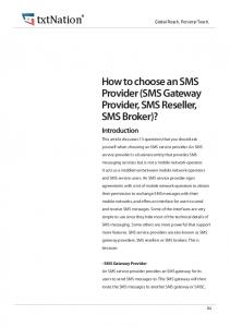 How to choose an SMS Provider (SMS Gateway Provider, SMS Reseller, SMS Broker)?