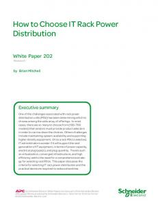 How to Choose IT Rack Power Distribution