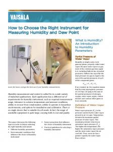 How to Choose the Right Instrument for Measuring Humidity and Dew Point