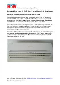 How to Clean your Hi-Wall Heat Pump Filters in 6 Easy Steps