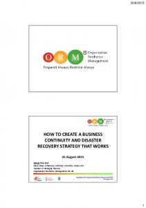 HOW TO CREATE A BUSINESS CONTINUITY AND DISASTER RECOVERY STRATEGY THAT WORKS