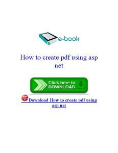 How to create pdf using asp net
