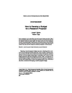 How to Develop a Budget for a Research Proposal