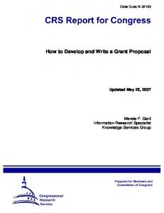 How to Develop and Write a Grant Proposal