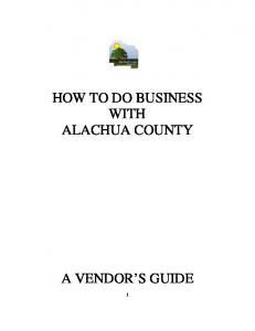 HOW TO DO BUSINESS WITH ALACHUA COUNTY
