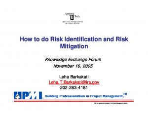How to do Risk Identification and Risk Mitigation