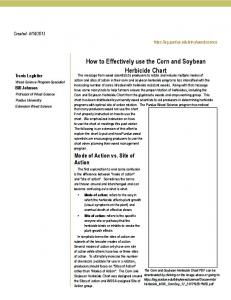 How to Effectively use the Corn and Soybean Herbicide Chart