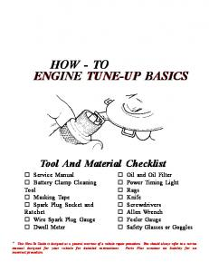 HOW - TO ENGINE TUNE-UP BASICS ENGINE TUNE-UP BASICS